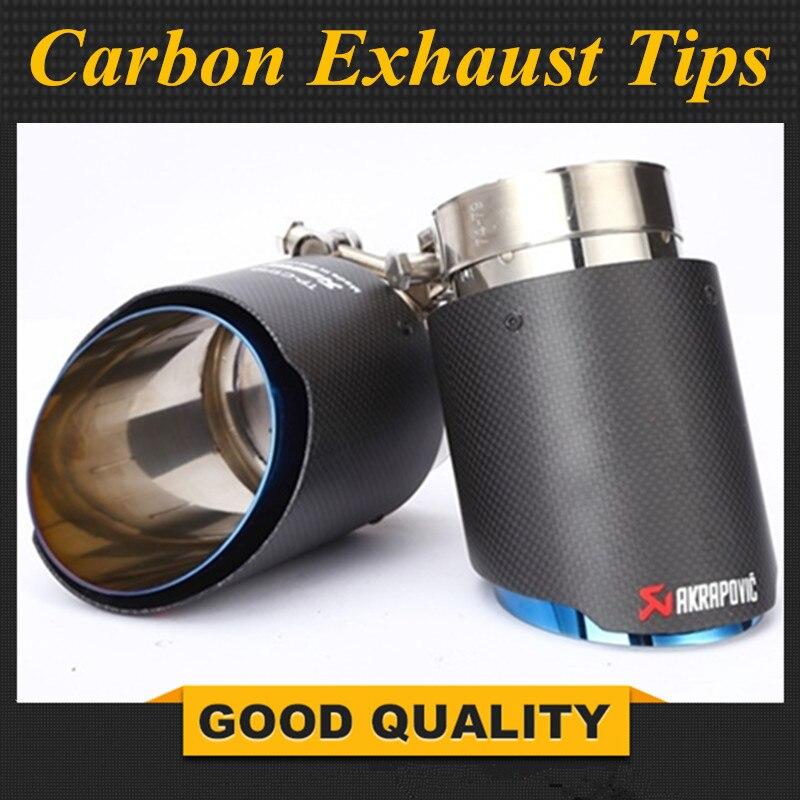 Court: nouveau Style fibre de carbone + bleu acier inoxydable universel système d'échappement fin tuyau + mat carbone Akrapovic voiture échappement pointe