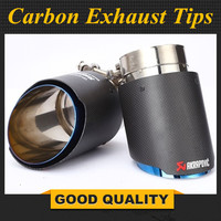 Short: Newest Style Carbon fiber +Blue stainless steel universal exhaust system end pipe+Matte carbon Akrapovic car exhaust tip