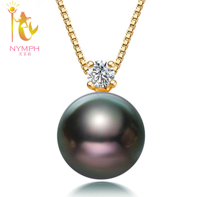 NYMPH pearl jewerly natural Black Tahitian Pearl 18k yellow Gold Pendant Necklace Fine Jewelry for