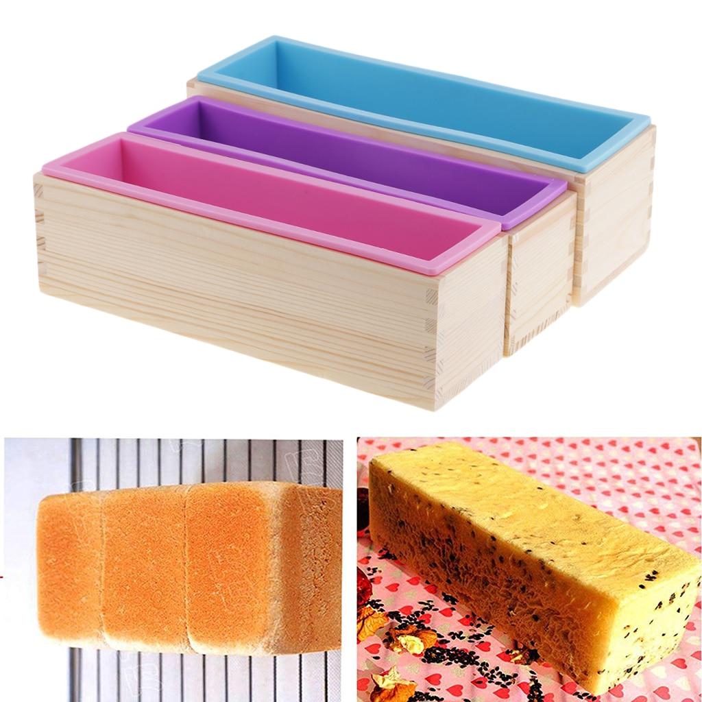 3x 長方形シリコンソープ斤木製ボックス DIY チョコレート型石鹸作成クラフトツール 900 ミリリットル/1200 ミリリットル  グループ上の ホーム&ガーデン からの 石鹸金型 の中 1