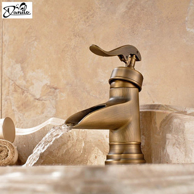 Clical All Copper Single Handle Waterfall Bathroom Basin Sink Faucet Open Spout Musluk Antique Br Vanity