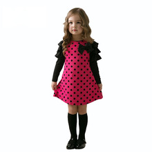 Baby Kids Dresses 2018 Autumn Girls Long Sleeve Cute Dot Princess Dress Spring Children Clothes Dress for Girl 2 3 4 5 6 7 Years недорого