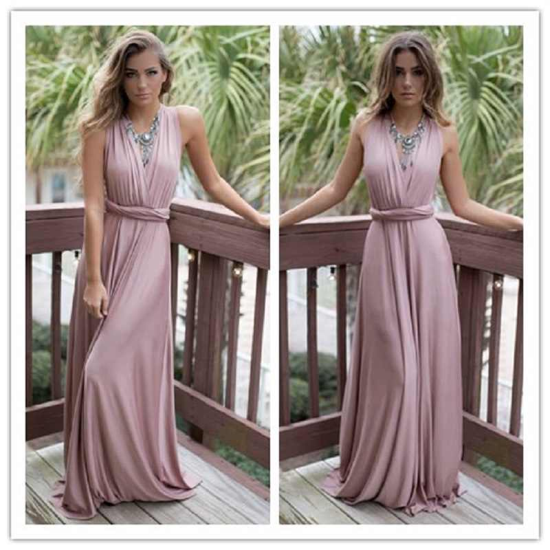 Zomer Boho Sexy Lange Jurk Bruidsmeisjes Multi Way Wrap Convertible Infinity Maxi Jurk Hollow Out Party Bandage Jurk Vestidos