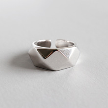 HFYK 925 Sterling Silver Ring 2019 Big Geometric Rings For Women Jewelry anillos plata para mujer bague femme anel