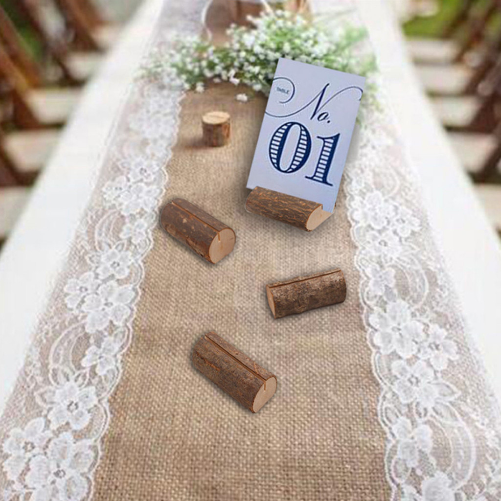 2019 The Latest Home Essentials Rustic Wood Place Card Holders Circular Table Numbers Holder Stand Wooden For Better Life image