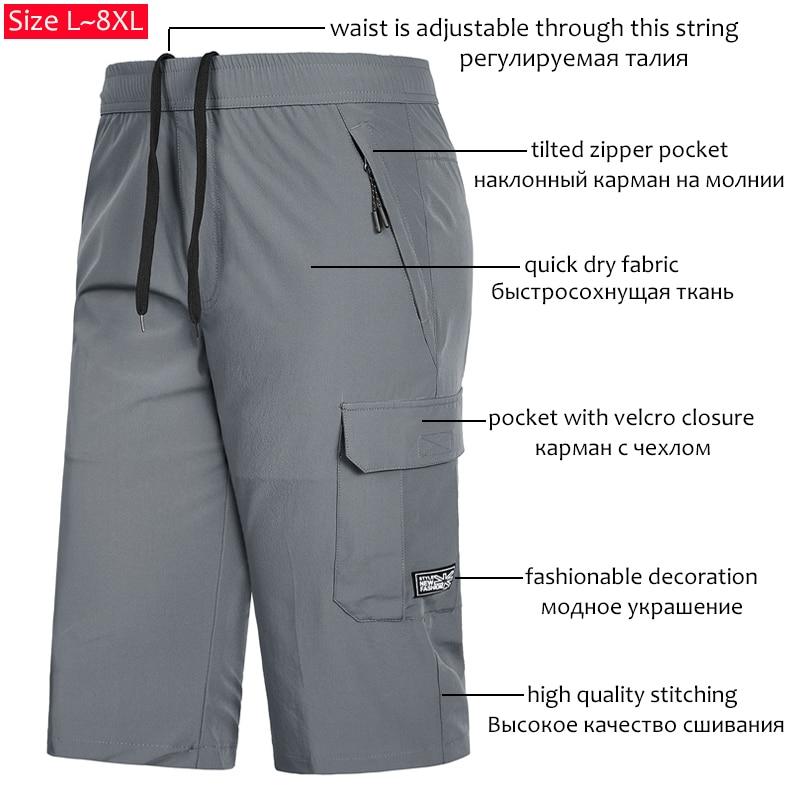 YIHUAHOO Casual Summer Shorts Men Plus Size 7XL 8XL Bermuda Board Beach Shorts Mens Thin Breathable Cool Quick Dry Short Pants