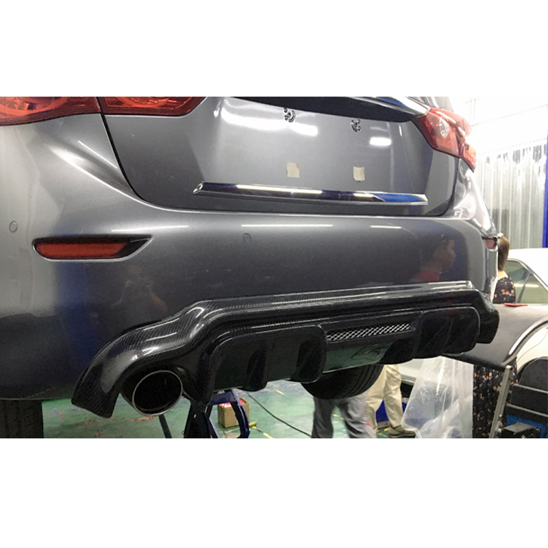 For Infiniti Q50 Q50L Spoiler 2014 2015 2016 2017 Q50 Car Decoration Black Carbon Fiber Rear Trunk Wing Spoiler Diffuser for infiniti q50 q50s spoiler abs material car rear wing primer color rear spoiler for infiniti q50 spoiler 2013 2017