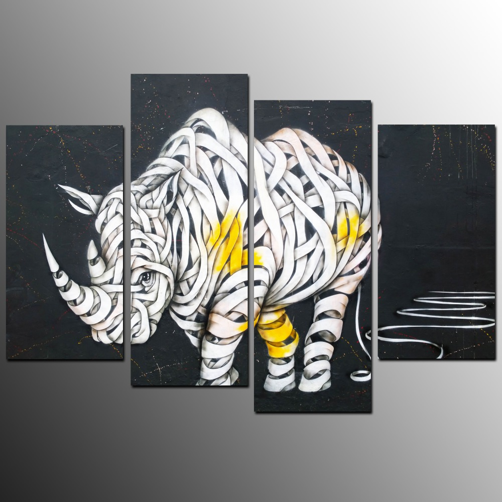 4 Stcke Rhinoceros Wandkunst Leinwanddruck Fr Hauptdekoration Wohnzimmer Leinwand Moderne Kunst Malerei Kein Rahmen