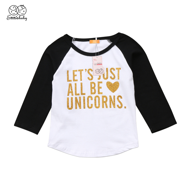 0c2178ce4 Toddler Kids Baby Girls Boys Unicorn T-shirt Long Sleeve Gold Words Tees  Summer Clothes Children Boy Girl Cartoon T-shirt 2-7Y