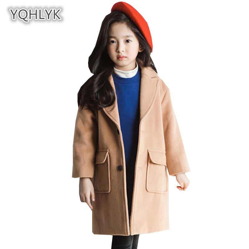 все цены на Children's autumn winter girls woolen coat fashion Korean lapel girl coat long casual Parker kids Outerwear & Coats LK141