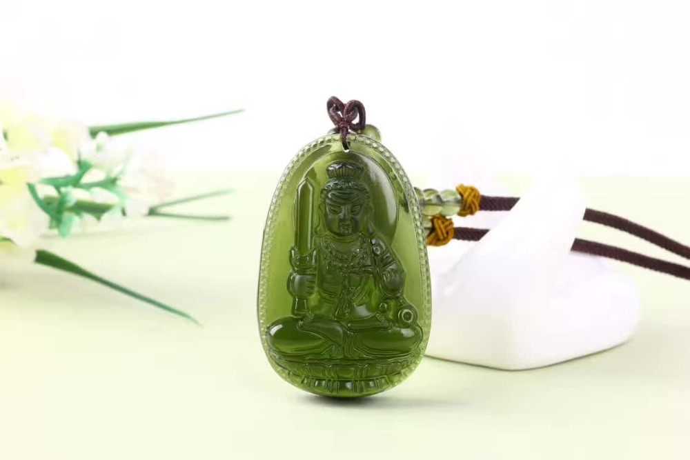 2 Natural Czech Moldavite green aerolites Carved Buddha Lucky Amulet Pendant crystal energy apotropaic free rope Unique Necklace
