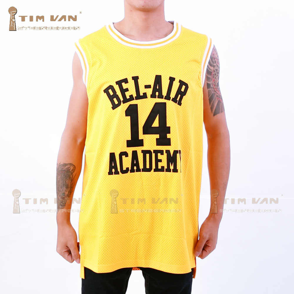 c66fd93a9b3 TIM VAN STEENBERGE Will Smith 14 Basketball Jersey Bel-Air Academy Stitched  Sewn-Yellow