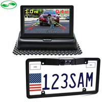 3in1 New 4.3 Inch Foldable Car Monitor Camera + America USA License Plate Frame Auto Reversing camera With 2 Parking Sensor