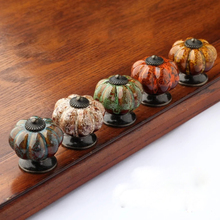 Free shipping Colored pumpkin cartoon handle Drawer ceramic pull handle American retro cabinet handle Bookcase pull knobs