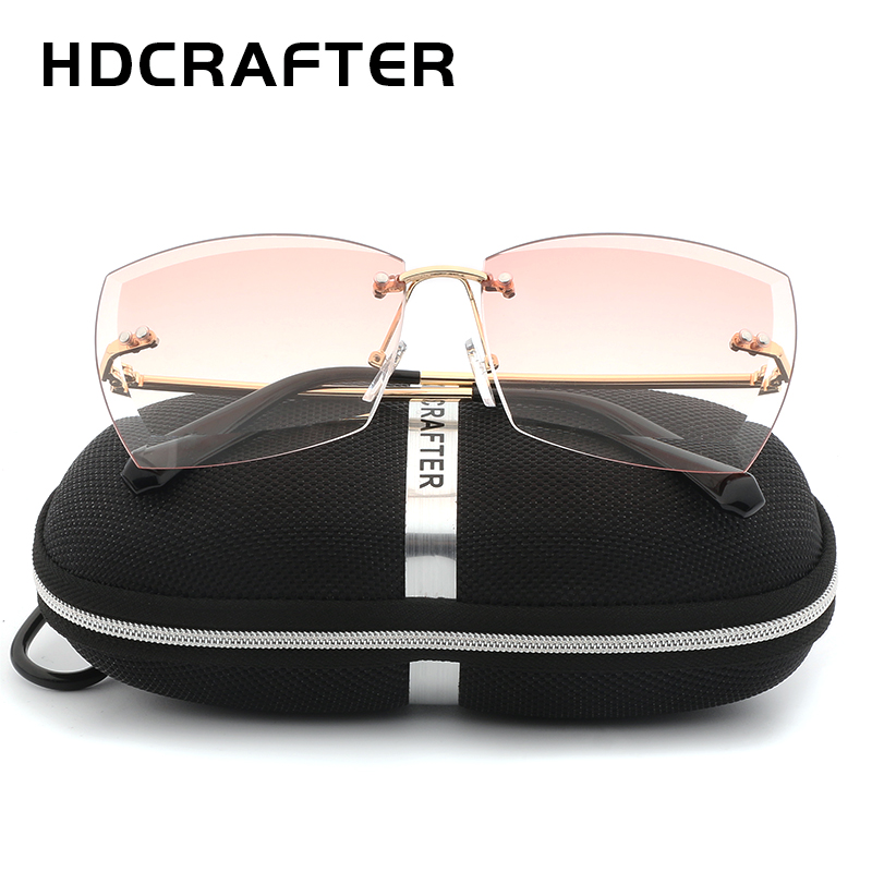 8ea67115ad4 HDCRAFTER Oversized Women Sunglasses Square Rimless Diamond cutting Lens  Brand Designer Fashion Shades Sun Glasses With Box-in Sunglasses from  Apparel ...