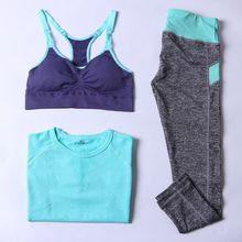 12Color 3Pieces Women's Yoga Sets Sports TrackSuit Push Up Bra+Capri Pants +Slim T shirt Compressed Breathable Sportswear Female