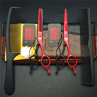 4Pcs/Set 5.5 Inch Red Japan Kasho Professional Human Hair Scissors Hairdressing Cutting Shears + Thinning Scissors + Combs H1012