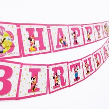 1pc/set Kids Birthday Party Supplies Minnie Mouse Party Pennant Bunting Birthday Flag Banners Girls Event Party Decorations 1pc set moana party pennant bunting birthday party flag banners kids cartoon birthday party supplies decoration moana flag