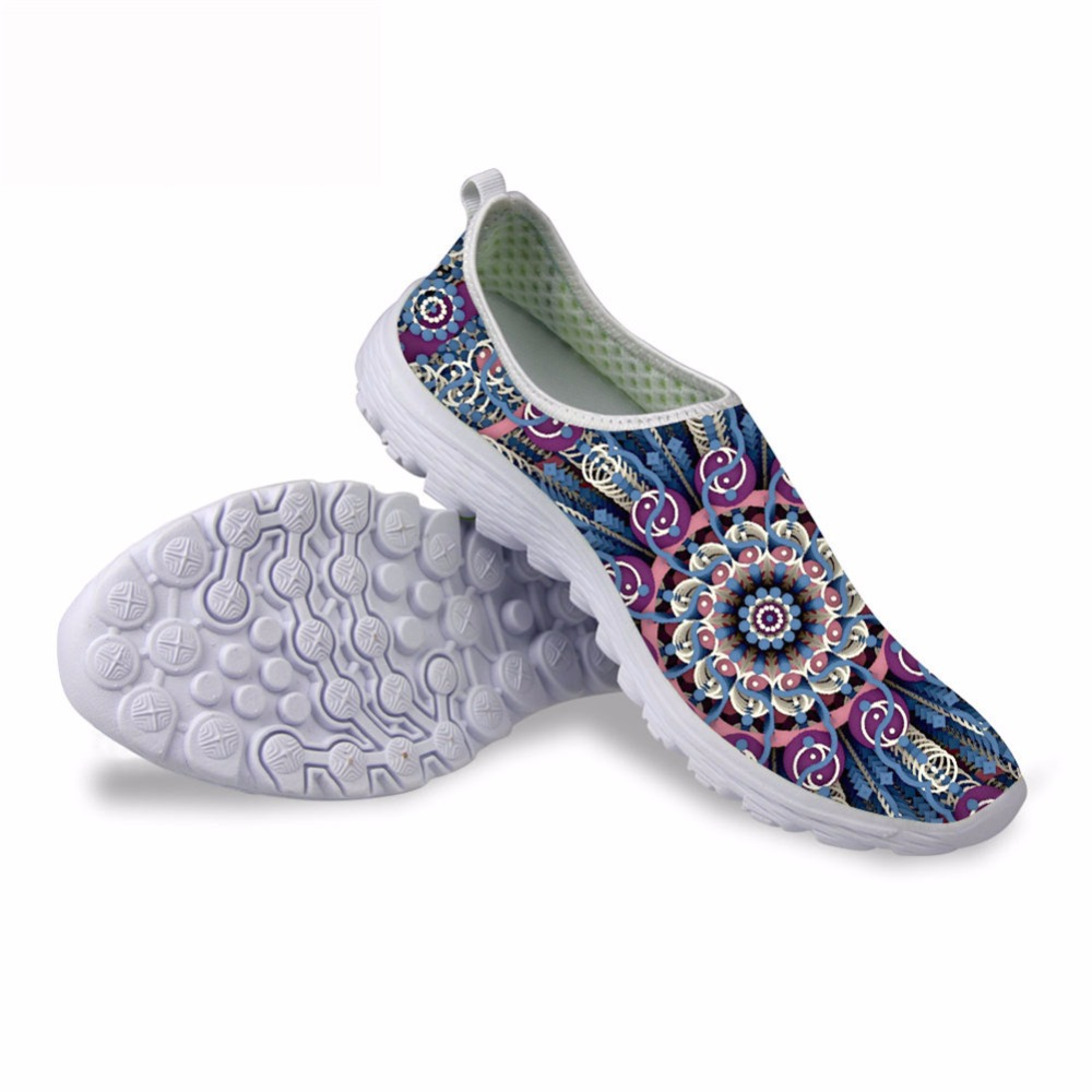 Noisydesigns Elegant vintage pattern print spring summer trend popular women shoes shallow air mesh casual flats for outing