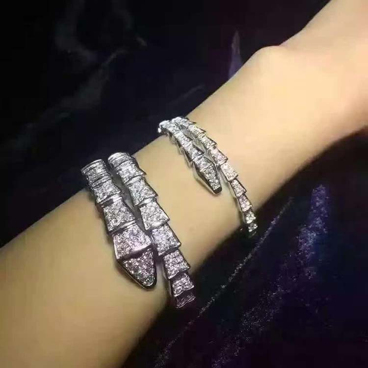 100% sterling sliver AAAA cubic zirconia crrystal double link snake bracelet bangles for women titanium steel link cubic zirconia studded couple bracelet