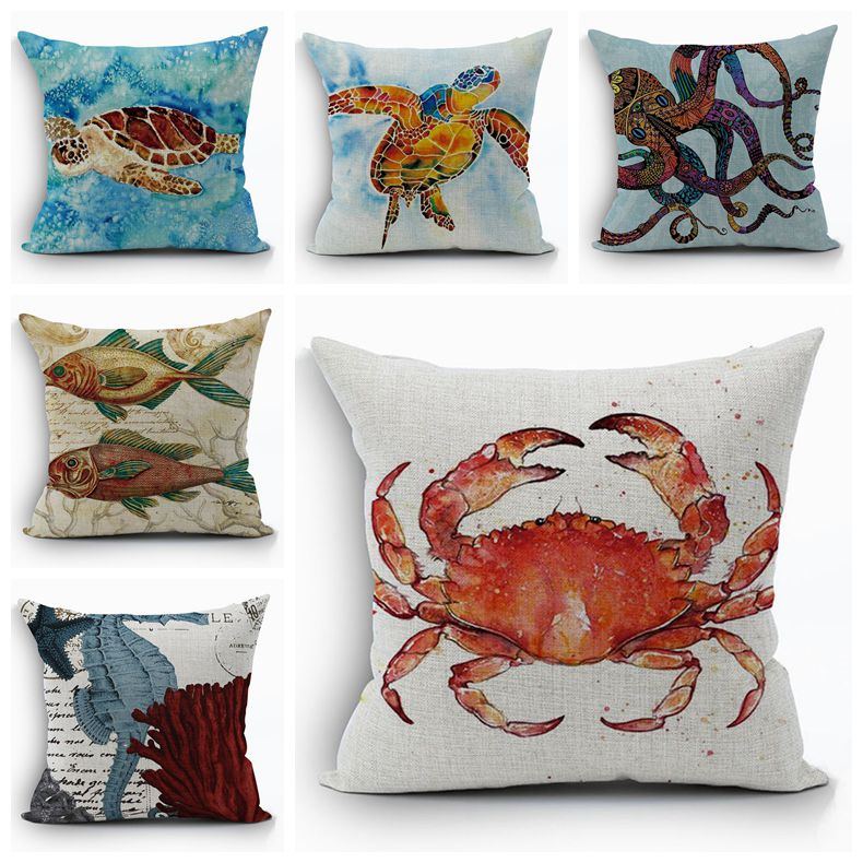 sea turtle cushion cover marine crab almofada ocean octopus throw pillow case sofa couch decor fish coral shrimp cojines