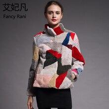 معطف صوف الغنم الحقيقي النساء الشتاء الملونة معطف صوف طبيعي الإناث الوقوف طوق الشتاء الدافئة الأغنام القص سترة outdoor
