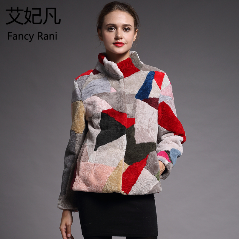 Real Fur Sheepskin Coat Women Winter Colorful Genuine Wool Coats Female Stand Collar Winter Warm Sheep Shearing Jacket Outercoat