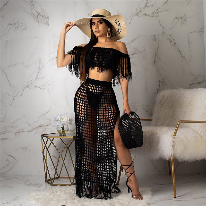 Women Beach Cover Up Summer Female Swimsuit Off Shoulder Tassel Crop Up+Knitting Skirt Hollow Out Bikini Cover Up