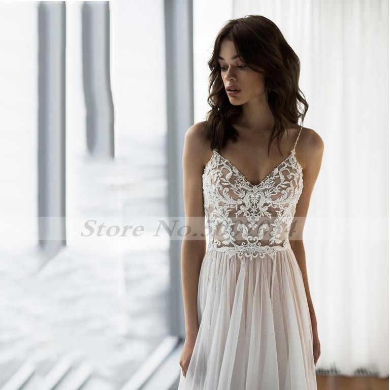 2019 свадебное платье Бохо сексуальное кружевное свадебное платье с открытой спиной Vestido De Noiva Lorie Свадебные платья для женщин