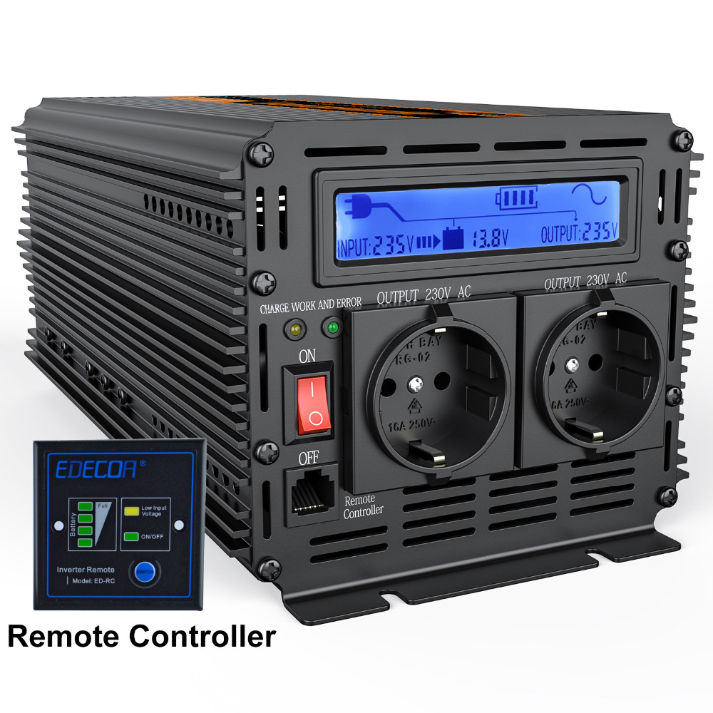 UPS inversor de onda sinusoidal pura 2500 W DC 12 V a AC 220 V inversor de la pantalla LCD + cargador y UPS, tranquilo y alimentación de carga rápida