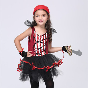 3-11 Years Girls Cosplay Clothing Set Kids Halloween Performance Clothes Girl Pirate Cosplay Party Uniform Carnival Party Outfit girl