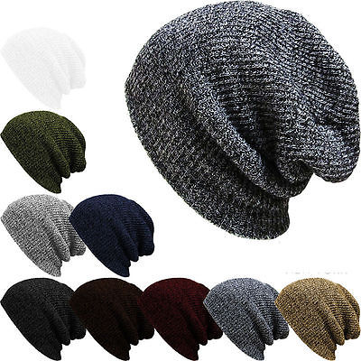 Fashion Men's Women's Knit Baggy Beanie Oversize Winter Hat Ski Slouchy Chic Cap Warm Skull Hats hot winter beanie knit crochet ski hat plicate baggy oversized slouch unisex cap