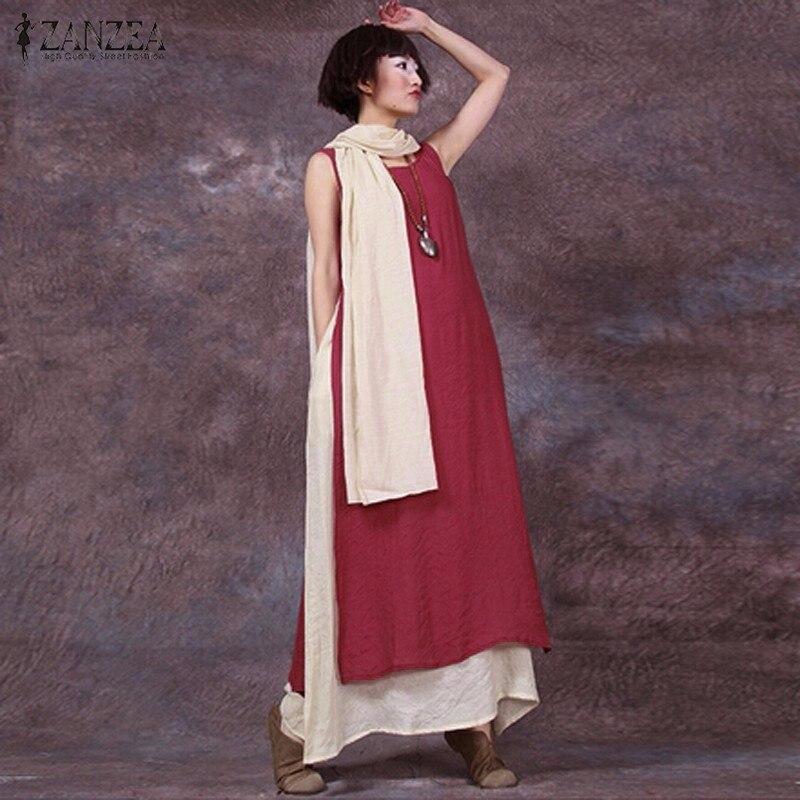 ZANZEA nők 2018 Nyári Vintage alkalmi laza ujjatlan ruha szexi O nyakú Boho padló hosszúságú Splice hosszú Maxi ruhák plusz méret