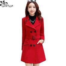 Uhytgf корейское зимнее женское Шерстяное Пальто Большие размеры Для женщин шерстяное длинное женское осеннее пальто модное двубортное Для женщин Jacket272