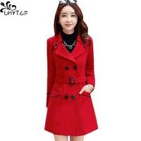 UHYTGF cappotto in lana donna coreana invernale 2021Plus size cappotto lungo in lana da donna giacca da donna doppiopetto moda autunno femminile 272
