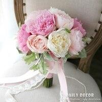 Ładny różowy piwonia sztuczne kwiaty bukiet ślubny bukiet ślubny panny młodej ręka trzyma bukiet kwiat Druhna darmowa wysyłka