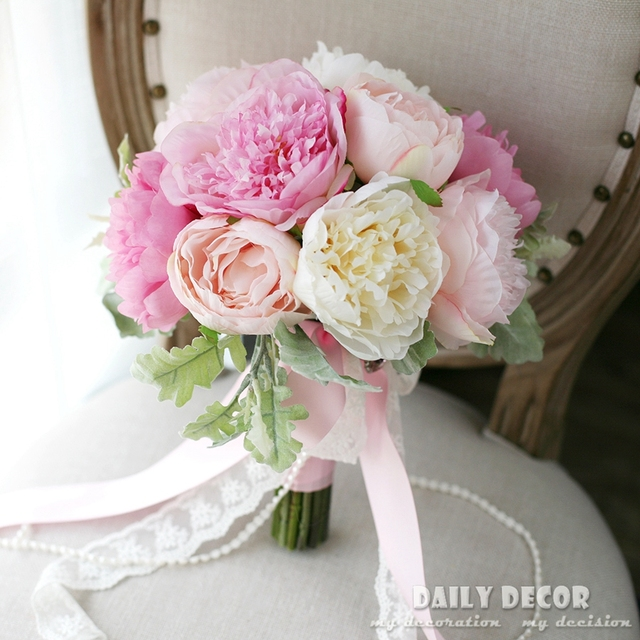 Nice Pink Peony Artificial Flowers Wedding Bouquet Bridal Bride Hand Holding Flower Bridesmaid Free