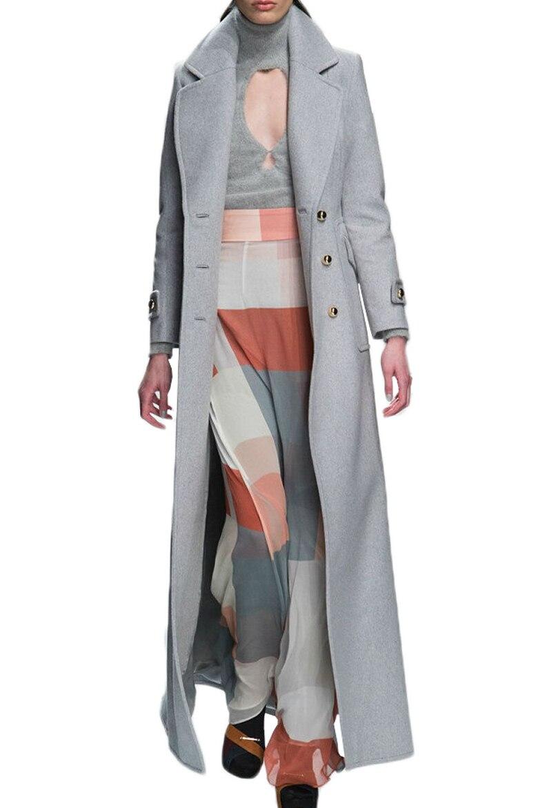 Plu taille 2XL! nouveau manteau d'hiver femmes cachemire Long manteau 2019 mode laine manteau Slim simple boutonnage manteau de laine
