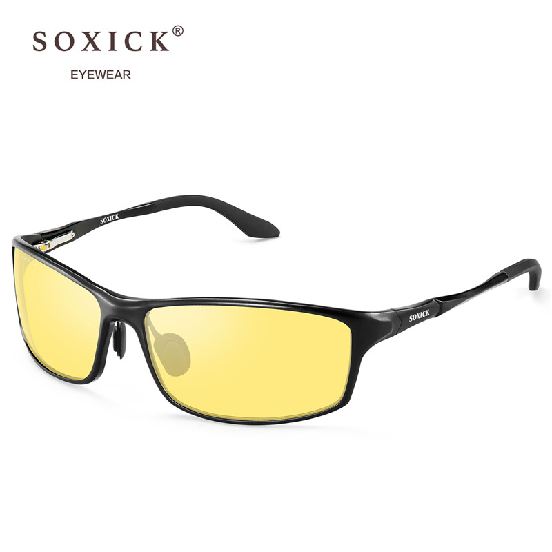 601a3bb203 SOXICK Brand Eyewear Night Vision Sunglasses for Men Women Yellow Lens  Classic Anti Glare Safety Driving