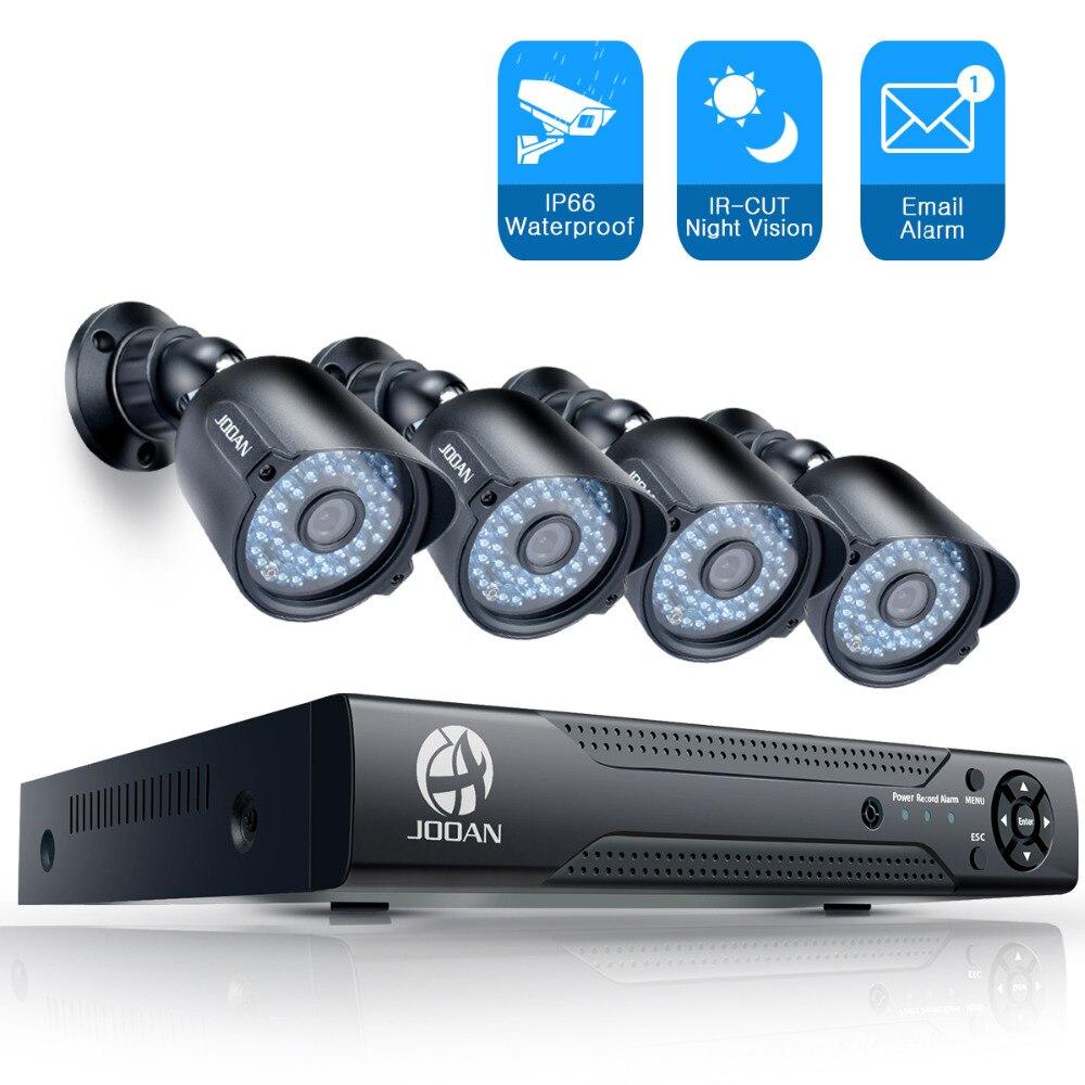 JOOAN Security Camera System 4CH 1080N CCTV DVR 4pcs 1000TVL Outdoor IR Light Night Vision Video Surveillance CCTV Kit