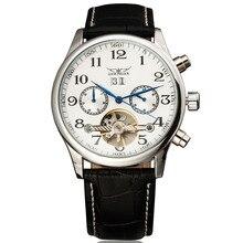 JARAGAR Reloj de pulsera automático para hombre, Tourbillon, automático, mecánico, con calendario completo, banda de cuero, novedad de 2016