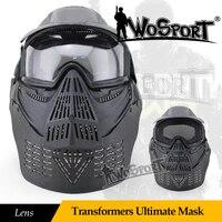 WoSporT Tactical Airsoft Transformers Cuối Cùng Đầy Đủ Mặt Mặt Nạ Ống Kính với Goggles Cổ Bảo Vệ Ngoài Trời Quân Sự Săn Bắn Paintball