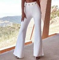 Top Quality Celebrity Black White Rayon Bandage Flare Pants Fashion Bodycon Pant