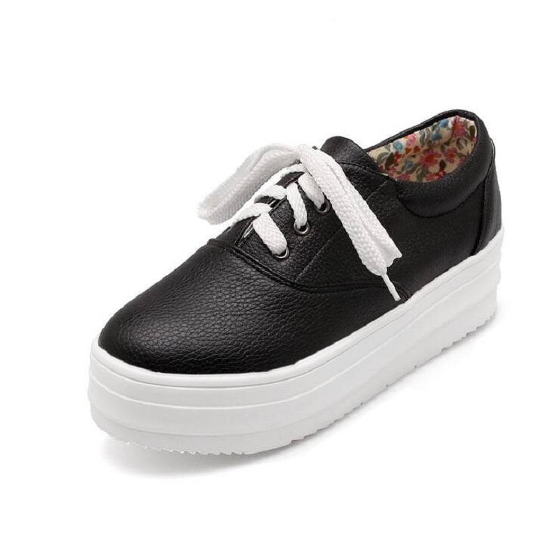 new 2017 black white platform casual shoes lace up