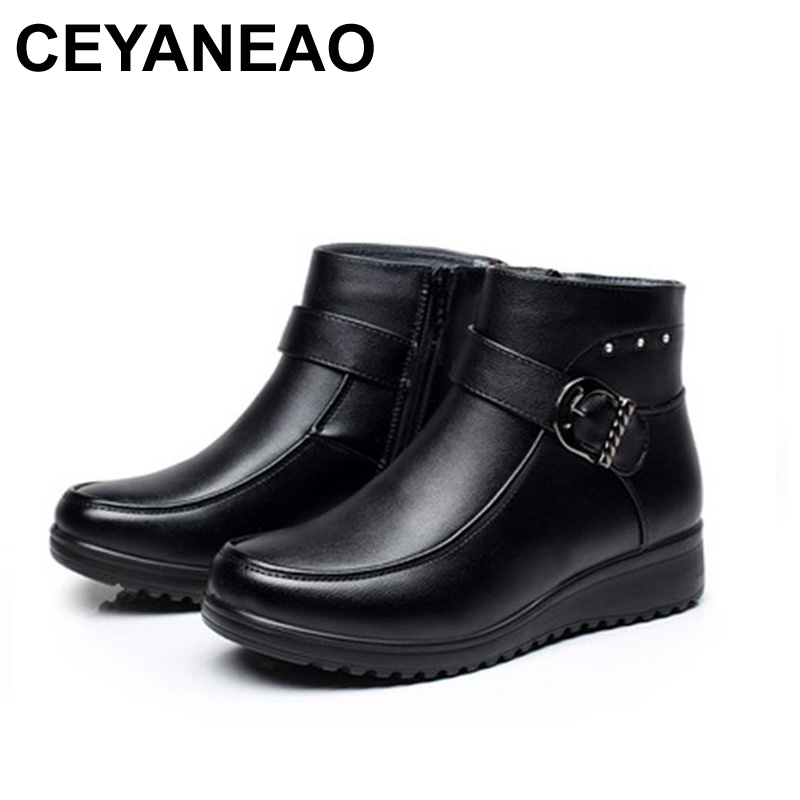 CEYANEAO Fashion Winter Boots Women Genuine Leather Flat Ankle Boots Casual Warm Shoes Woman Snow Boots Women Boots Plus SizeCEYANEAO Fashion Winter Boots Women Genuine Leather Flat Ankle Boots Casual Warm Shoes Woman Snow Boots Women Boots Plus Size
