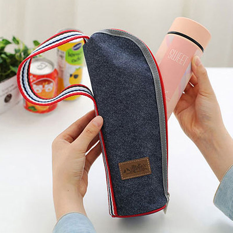 Waterproof  Denim Bottle Cooler Insulation Baby Milk Bottle Bag Feeding Drink Beverage Cooler Ice Pack Insulated Drink