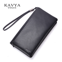KAVYA Brand 2017 NEW Men Clutch Bags Real Leather Male Handbags Cowhide Long Purses Capacity Wallet Hot Style