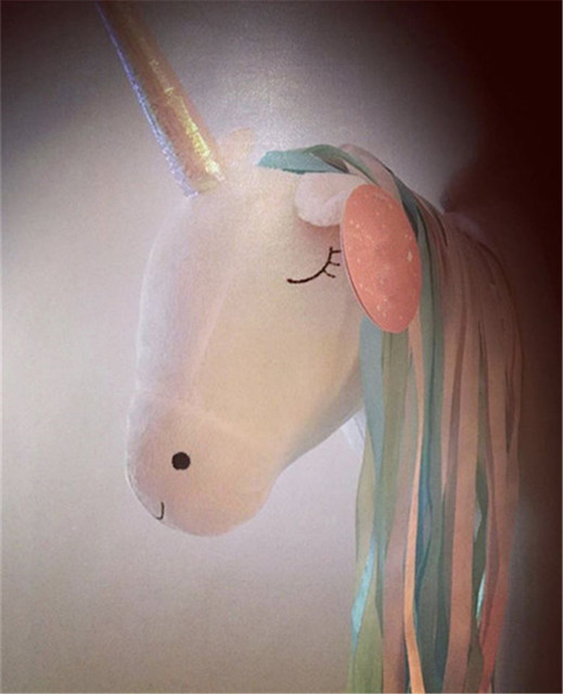 Stuffed Unicorn Head Wall Hanging