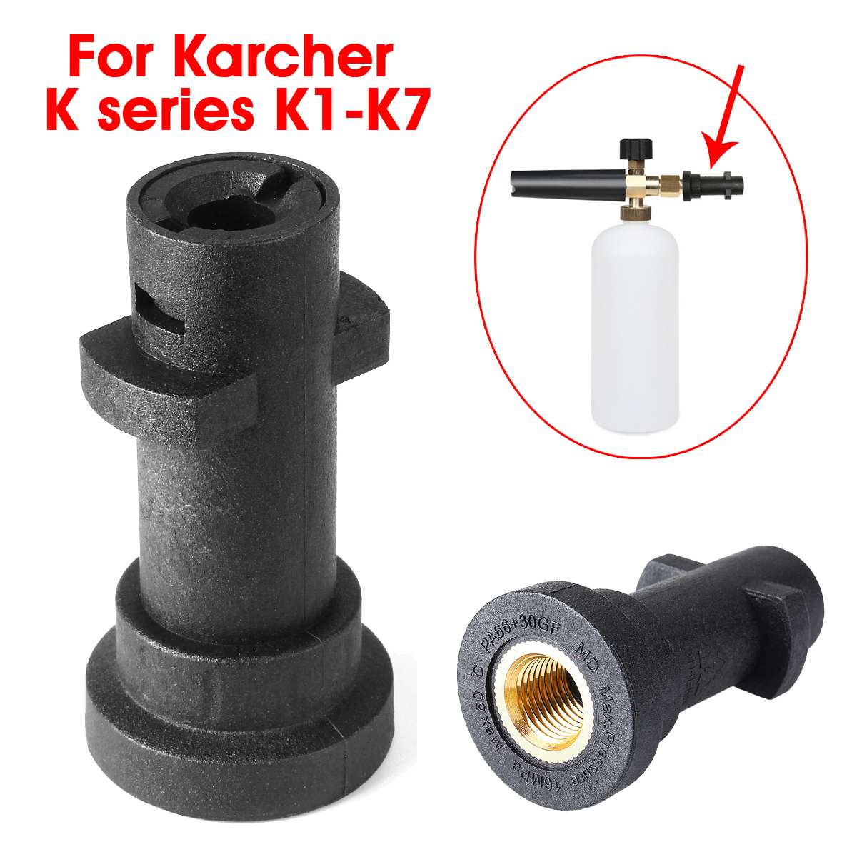 Black High Pressure Water Filter Bubble Pot Car Washer Connector Adapter Plastic Washing Accessories For Karcher K series K1-K7(China)