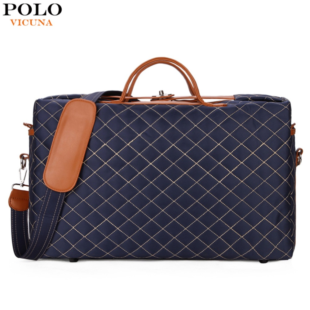 VICUNA POLO Diamond Lattice Pattern Large Size Mens Travel Duffle Bag Anti-theft Buckle Open Men Traveling Bag Casual Handbags